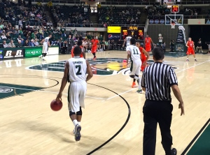 Jaaron Simmons brings the ball up the court in Ohio's 73-57 exhibition victory over Indiana Tech. He scored 24 points to lead Ohio to a win on Saturday afternoon. (Photo by Corbin Bagford)