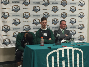 Treg Setty (middle), joined by Jaaron Simmons (left) and Saul Phillips (right), talks to the media following his final game as an Ohio Bobcat. (Photo by Corbin Bagford)