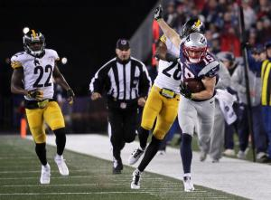 Chris Hogan led New England with 180 receiving yards and two touchdowns in the 36-17 win over Pittsburgh on Sunday. (Photo: Boston Globe)